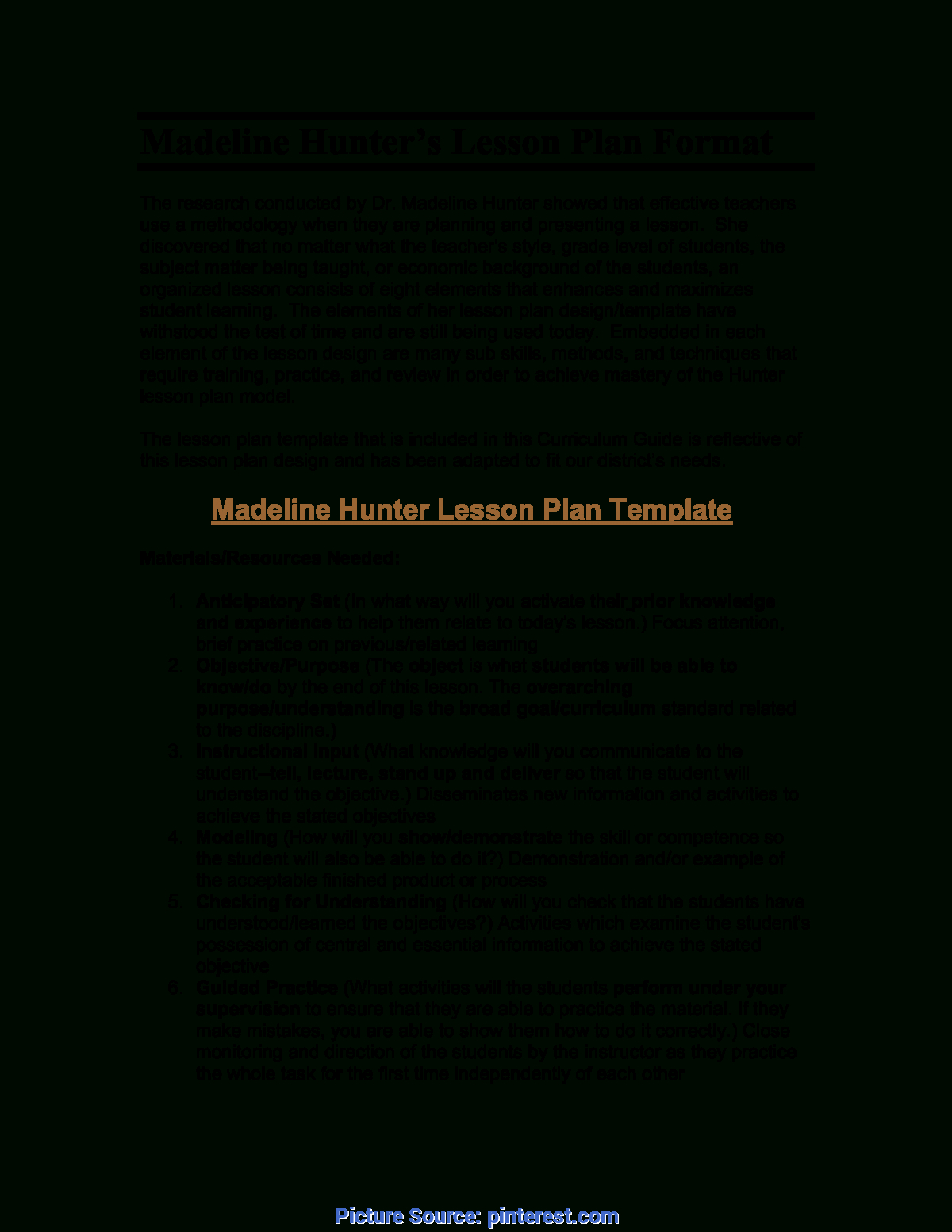 Top Madeline Hunter Lesson Plan Pdf Microsoft Word For Madeline Hunter Lesson Plan Blank Template