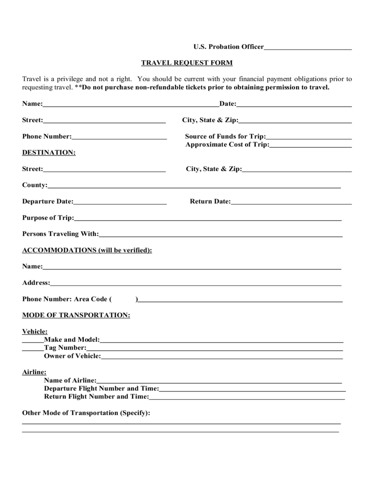 Travel Request Form – 2 Free Templates In Pdf, Word, Excel Throughout Travel Request Form Template Word