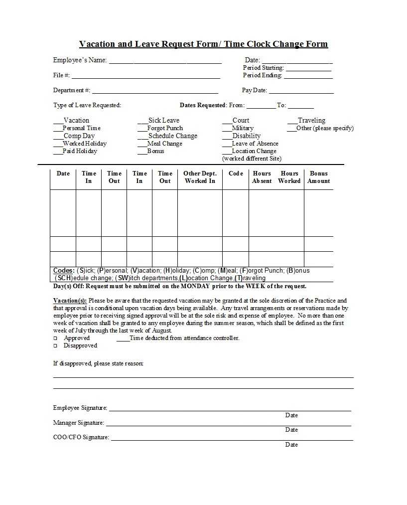 Vacation Request Form Example Professional Employee Forms With Travel Request Form Template Word