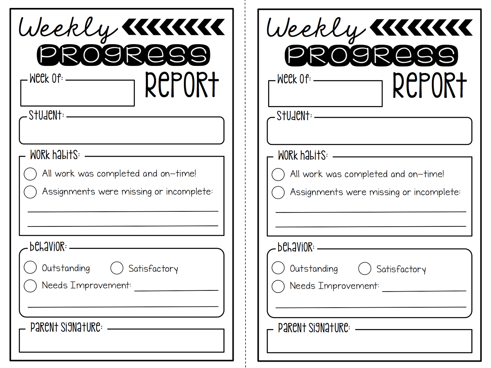 Weekly Behavior Report Template ] – Search Results For With Regard To Behaviour Report Template