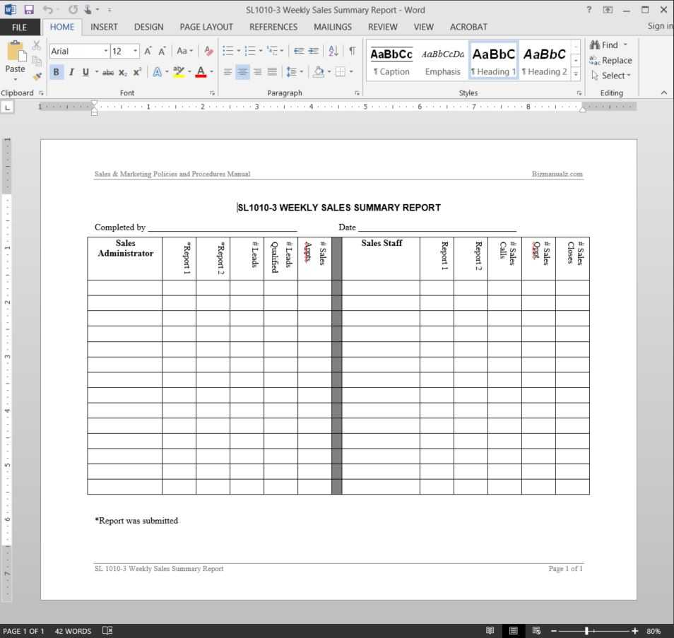 Weekly Sales Summary Report Template   Sl1010 3 Regarding Sales Lead Report Template