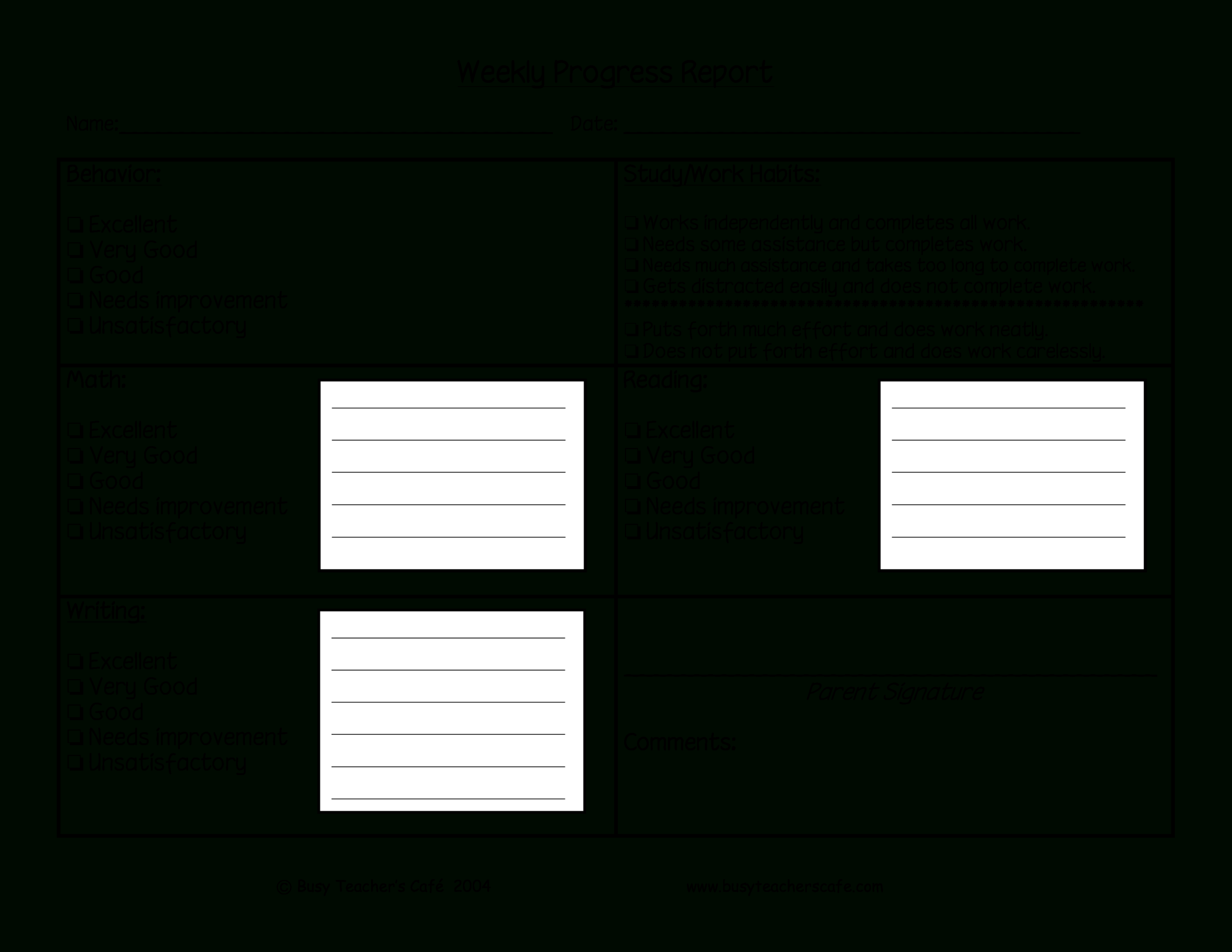 Weekly Student Behavior Report   Templates At With Behaviour Report Template