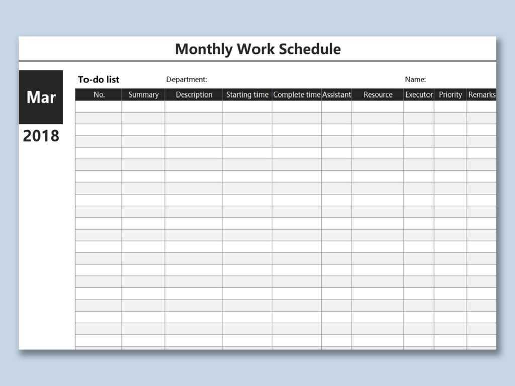 Work Schedule Spreadsheet Plan Template Excel Download Free Regarding Blank Monthly Work Schedule Template