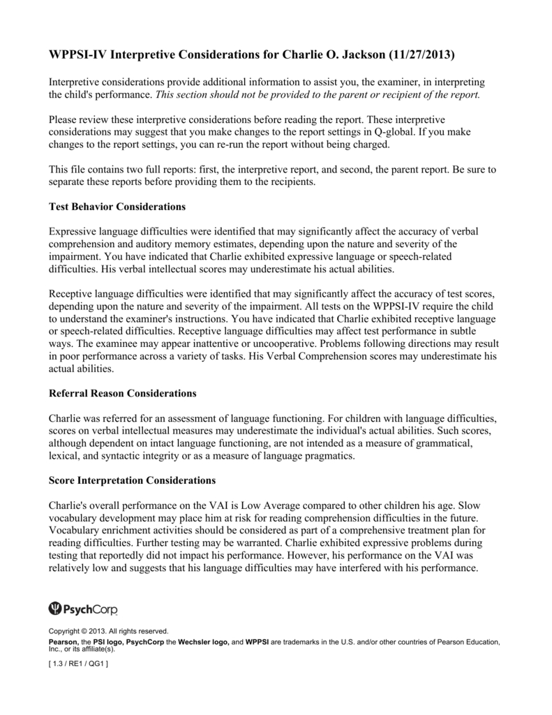 Wppsi Iv Interpretive Report Sample Within Wppsi Iv Report Template